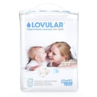 детские подгузники lovular hot wind M 5-10 кг., 64 шт.