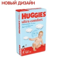 Подгузники Huggies Ultra Comfort  4 (8-14 КГ) для мальчиков (80 ШТ)/