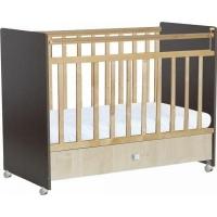"""Кровать детская Фея """"700"""", (венге-клён), состав - массив березы + ЛДСП, колеса"""
