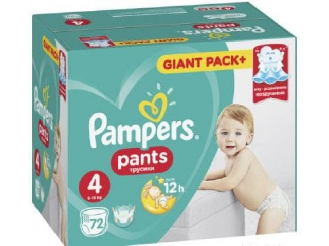 Pampers трусики Pants Extra Large 4 (9-15 кг.) 72 шт.
