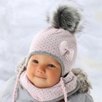 .AJS комплект 36-303 шапка вязка + манишка (р.36-38)