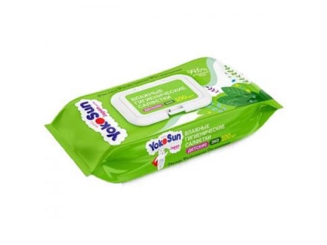Салфетки влажные детские Yokosun, упаковка 100 штук