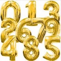 Шар цифра фольгированная золото надутая гелием