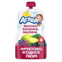 Агуша Пюре фруктовое Яблоко-Ежевика-Малина 90г