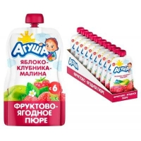 Пюре Агуша Яблоко, клубника, малина с 6 мес, 90 гр