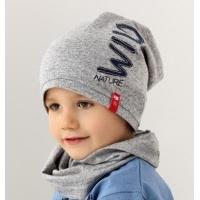 AJS комплект 38-175 шапка для мальчика одинарный трикотаж + снуд (р.48-50) wild nature