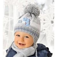 AJS комплект 38-449 шапка для мальчика подклад флис+шарф (р.44-46)