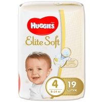 Huggies Elite Soft (Хагис Элит Софт) подгузники (4) 19 шт. 8-14 кг.