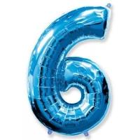 """Шар цифра фольгированная голубая надутая гелием // Цифра """"6"""""""
