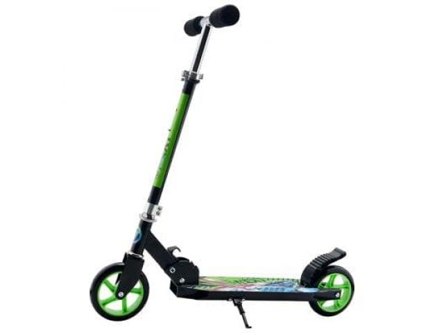 Самокат, 2-х колесный, Next, складной, колеса pu 145 мм, черно- зеленый