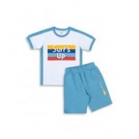 Комплект для мальчика (футболка+шорты) бел.бирюз.