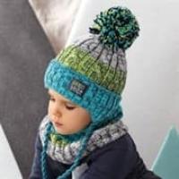 .AJS комплект 42-482 шапка с завязками, подклад флис +снуд (р.50-52)